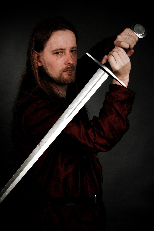 Gavin Lucan, with sword