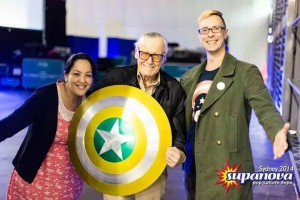 "Allan ""Type 40"" Carey (right) with Stan Lee (middle)"