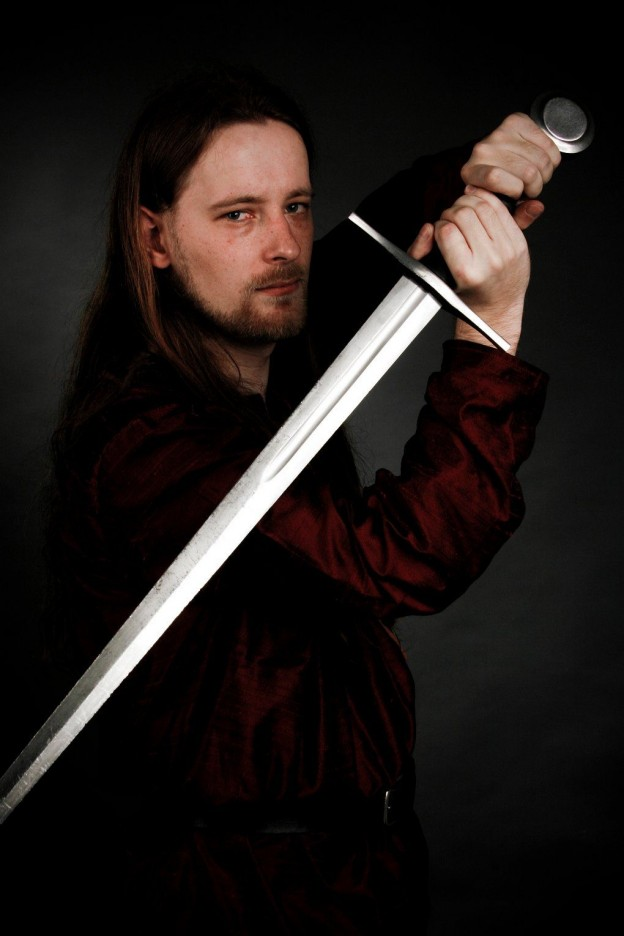 Gavin Lucan, with sword